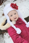 White Winter Wimple Hat with Raspberry Small Rose