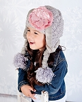 Gray Winter Wimple Hat with Sequins Pale Pink Rose
