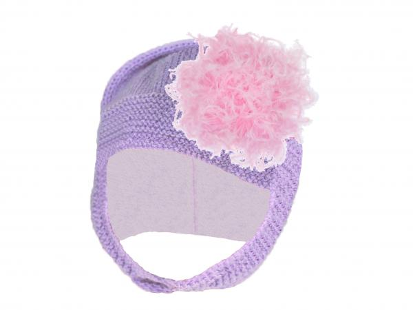 Lavender Blossom Bonnet with Candy Pink Large Curly Marabou