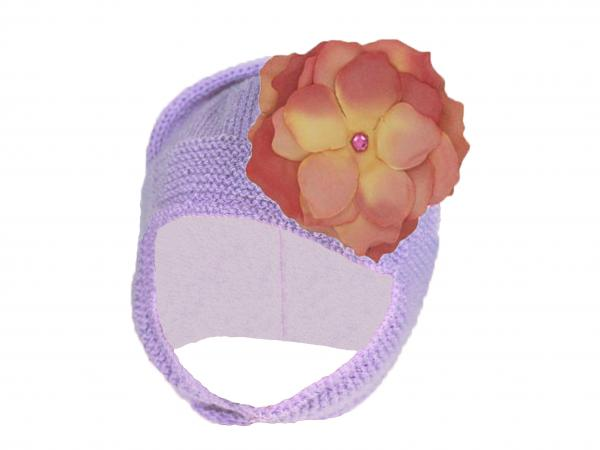 Lavender Blossom Bonnet with Candy Pink Small Rose