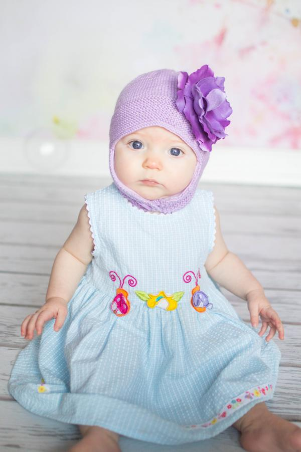 Lavender Blossom Bonnet with Purple Small Rose