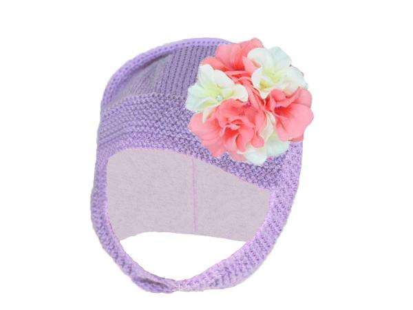 Lavender Blossom Bonnet with Pink White Large Geraniums