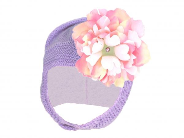 Lavender Blossom Bonnet with Pink White Small Peony