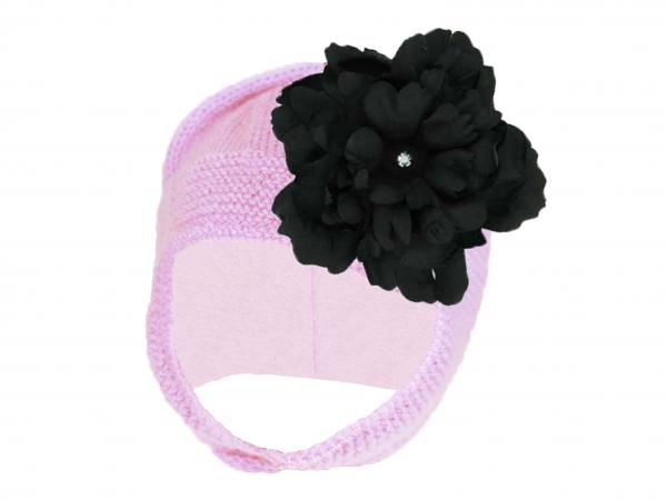 Pale Pink Blossom Bonnet with Black Small Peony