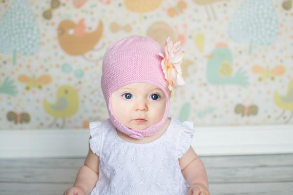 Pale Pink Blossom Bonnet with Pale Pink Small Rose