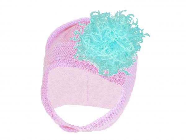 Pale Pink Blossom Bonnet with Teal Large Curly Marabou