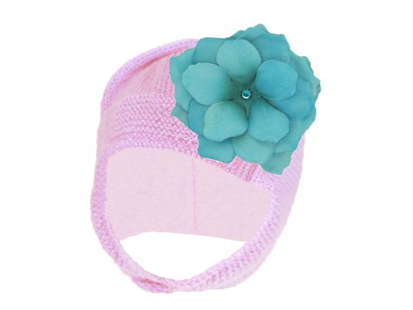 Pale Pink Blossom Bonnet with Teal Small Rose