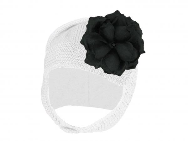 White Blossom Bonnet with Black Small Rose