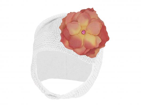White Blossom Bonnet with Candy Pink Small Rose