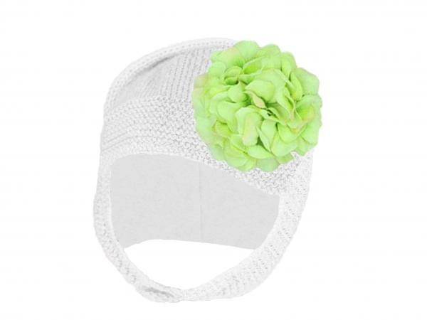 White Blossom Bonnet with Green Large Geraniums
