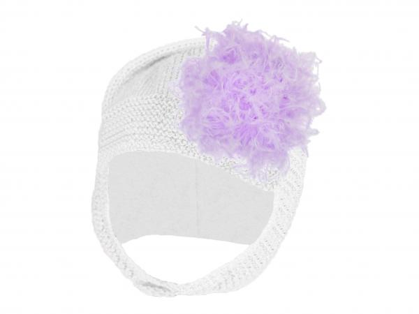 White Blossom Bonnet with Lavender Large Curly Marabou