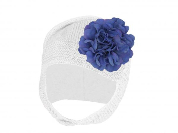 White Blossom Bonnet with Lavender Large Geraniums