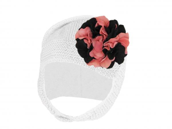 White Blossom Bonnet with Pink Black Large Geraniums