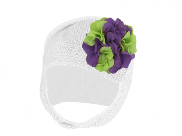 White Blossom Bonnet with Purple Green Large Geraniums