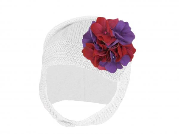 White Blossom Bonnet with Purple Raspberry Large Geraniums