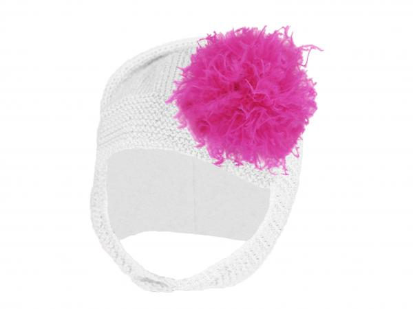 White Blossom Bonnet with Raspberry Large Curly Marabou
