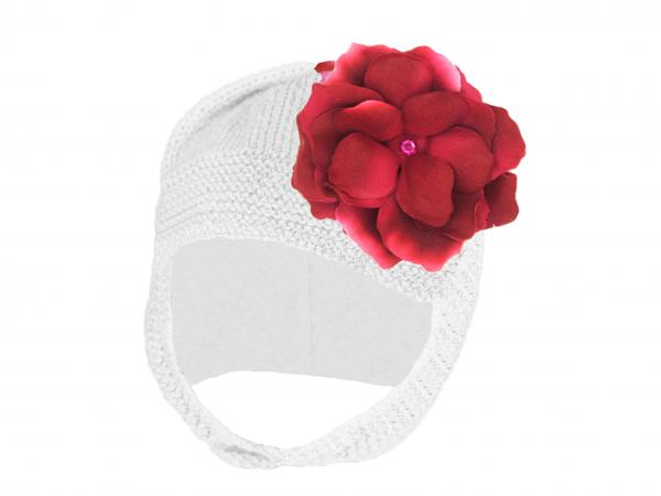 White Blossom Bonnet with Raspberry Small Rose