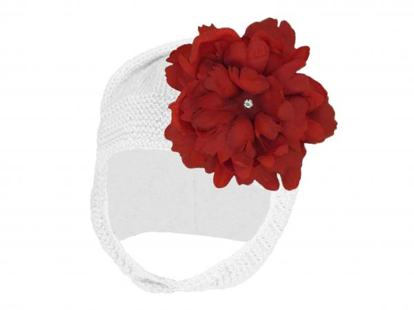 White Blossom Bonnet with Red Small Peony