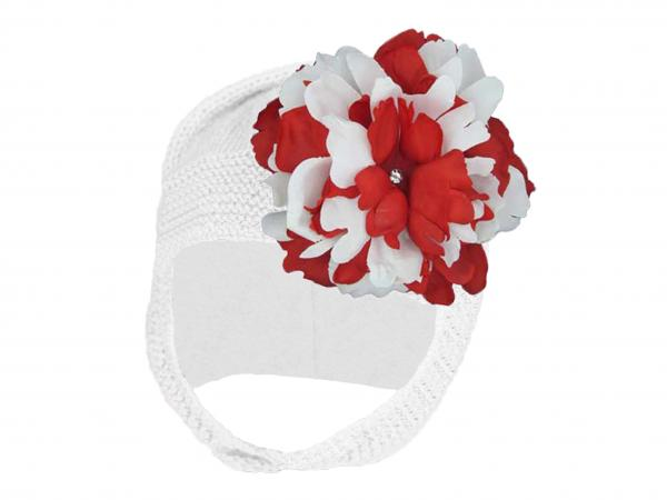 White Blossom Bonnet with Red White Small Peony