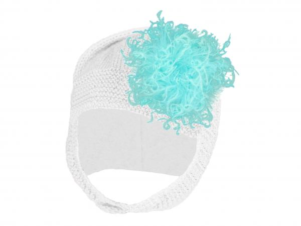 White Blossom Bonnet with Teal Large Curly Marabou