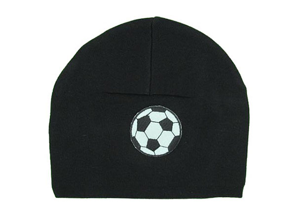 Black Applique Hat with Black White Soccer Ball