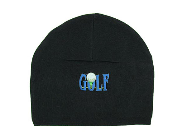 Black Applique Hat with Blue Golfball
