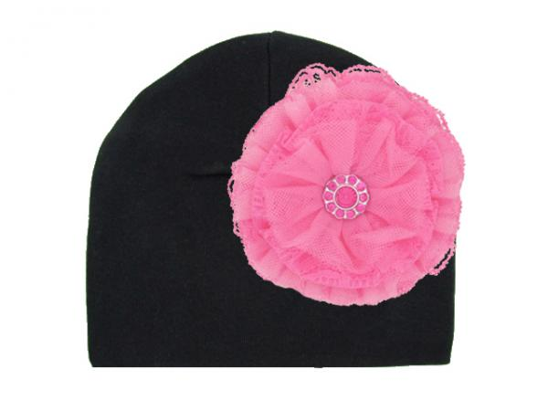 Black Cotton Hat with Candy Pink Lace Rose