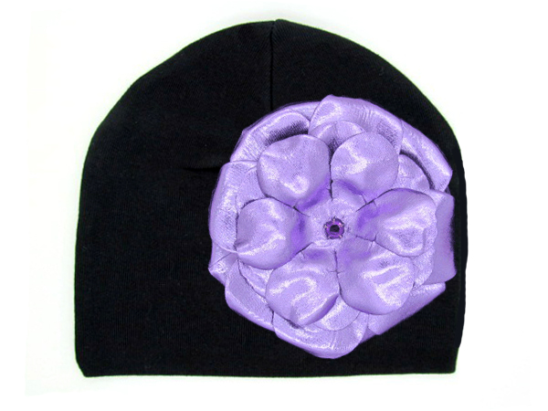Black Cotton Hat with Metallic Purple Rose