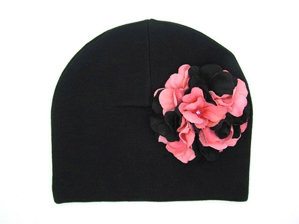 Black Cotton Hat with Pink Black Large Geraniums