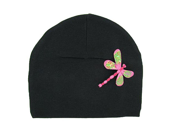 Black Applique Hat with Pink Dragonfly