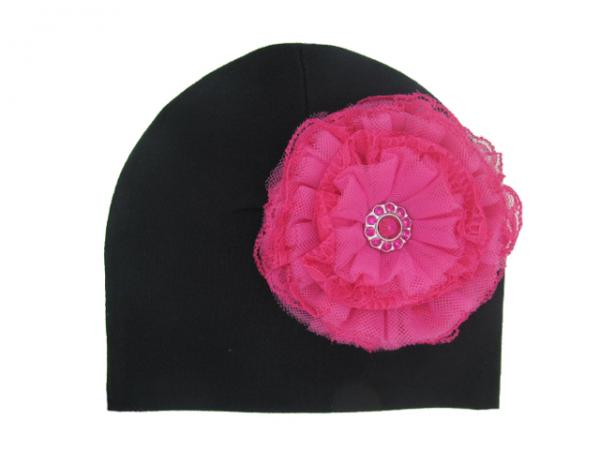 Black Cotton Hat with Raspberry Lace Rose