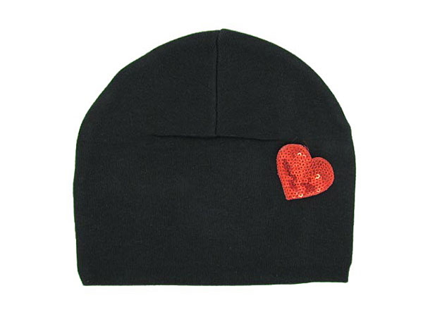 Black Applique Hat with Red Heart