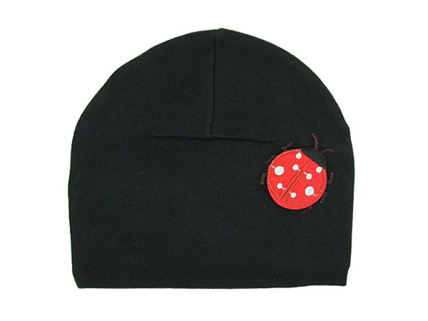 Black Applique Hat with Red Ladybug