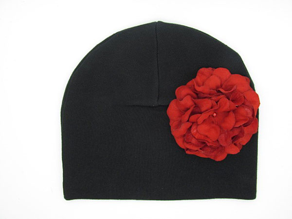 Black Cotton Hat with Red Large Geraniums