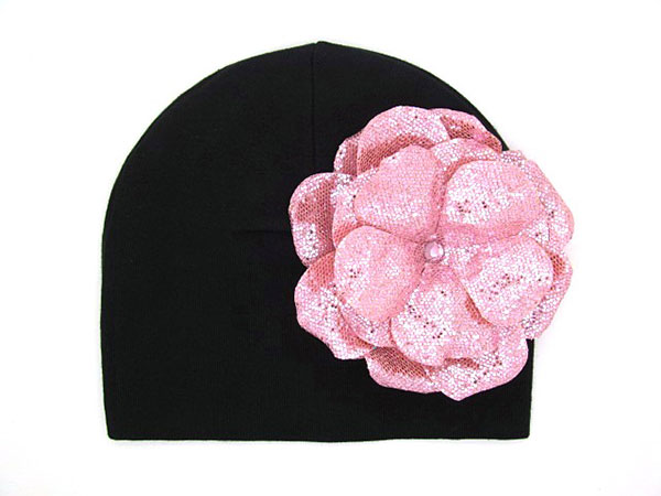 Black Cotton Hat with Sequins Pale Pink Rose