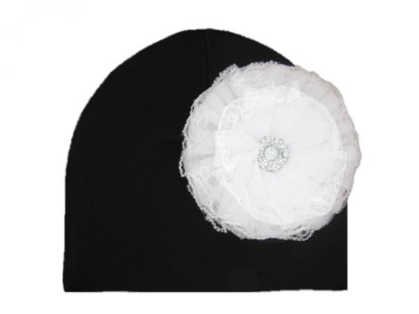 Black Cotton Hat with White Lace Rose