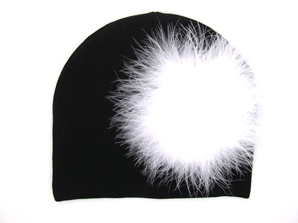 Black Cotton Hat with White Large regular Marabou