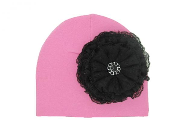 Candy Pink Cotton Hat with Black Lace Rose