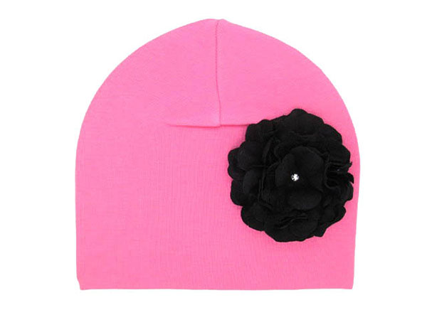 Candy Pink Cotton Hat with Black Large Geraniums