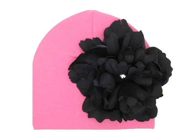 Candy Pink Cotton Hat with Black Large Peony