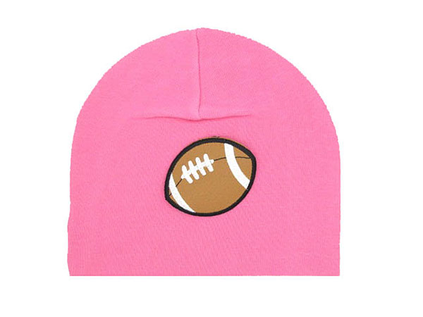 Candy Pink Applique Hat with Brown Football