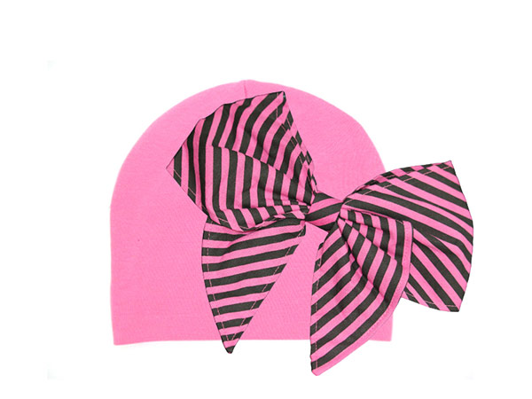 Candy Pink Cotton Hat with Candy Pink Stripe Bow-Rae-Mi
