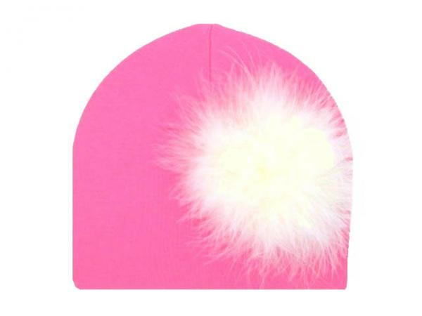 Candy Pink Cotton Hat with Cream Large regular Marabou