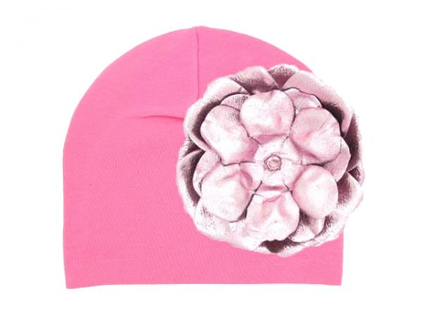Candy Pink Cotton Hat with Metallic Pale Pink Rose