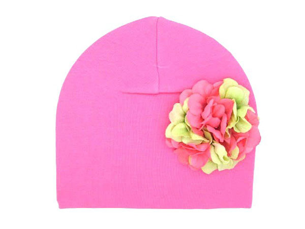Candy Pink Cotton Hat with Pink Green Large Geraniums