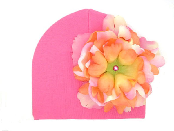 Candy Pink Cotton Hat with Pink Orange Large Peony