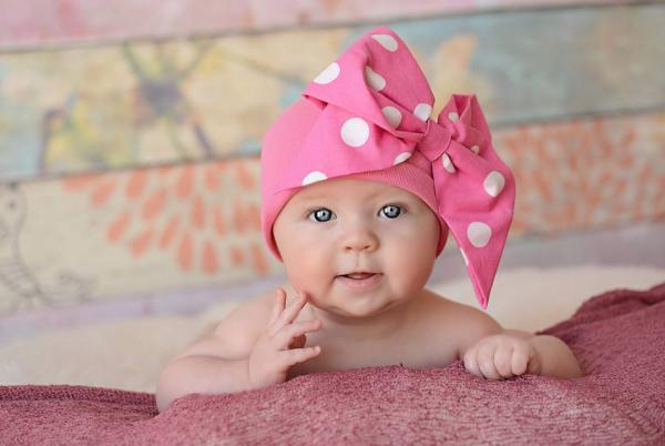Candy Pink Cotton Hat with Pink White Bow-Rae-Mi