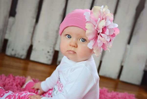 Candy Pink Cotton Hat with Pink White Large Peony