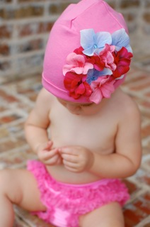 Candy Pink Cotton Hat with Rainbow Large Geraniums