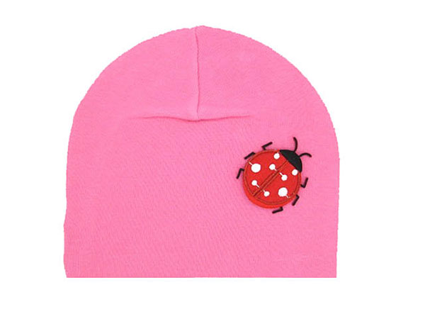 Candy Pink Applique Hat with Red Ladybug